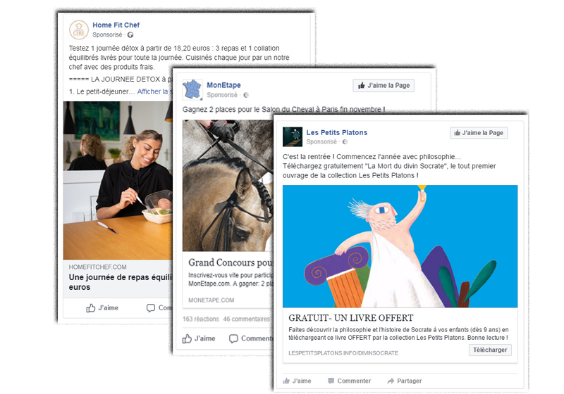 Pubs FACEBOOK ADS illustration , Poptrafic agence digitale TPE - PME - Ecommerce - Startup à Paris